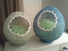 Egg Baskets:  wrap string around a balloon blown up to the size you want (this is the hardest part lol), pour Heavy Starch over it to soak, let dry completely, pop balloon, cut a hole and add some lace :-) I used the cutout to make a little stand for it too! Thinking of adding a nice puffy bow to the top...