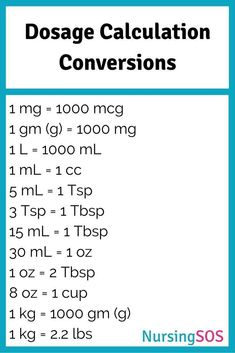 Dosage Calculation Conversions You Need to Know in Nursing School. Click through to get this FREE printable. Take this Dose Calc Cheat Sheet to clinical and be a nursing hero! nurse students, nurse make up, nurse tips and tricks Nursing Math, Nursing School Notes, Pharmacology Nursing, Nursing Tips, Nursing Students, Nursing Schools, Nursing Programs, Nursing Cheat Sheet, Student Nurse