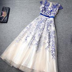 High Waist Embroidery Evening Dress Layered Ruffled Skirt