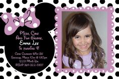 Purple and Black Polka Dot Minnie Mouse Invitation OR Thank you Card (Black and White Polka Dot Background) other colors available