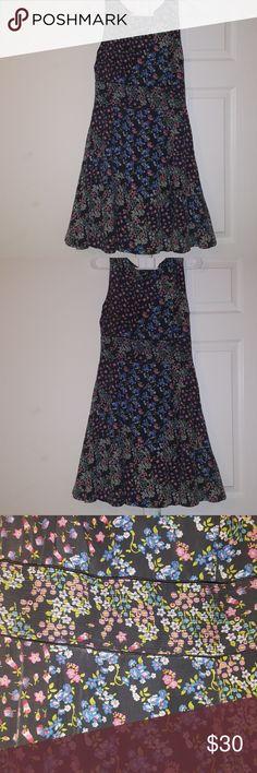 Vanilia. Silk.Floral Dress Stretch Waist. Sleeveless Vanilia Dresses