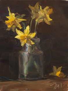 daily painting titled Jonquils in a jar - click for enlargement