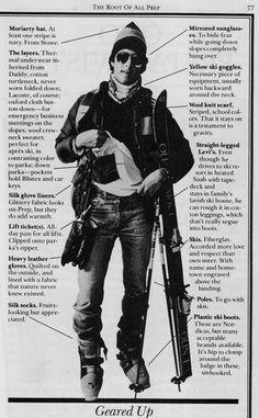 80's ski style via Preppy Handbook (layers w/jeans)