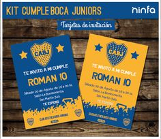 Dos diseños de #tarjetas de #invitación #boca #bocapasion #fiesta #infantil Tiger Cake, Ronaldo, Toy Story, Roman, Invitations, Kit, Ideas, Birthday Cards, Christmas Letters
