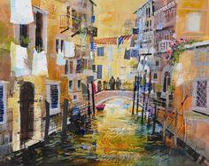 Autumn Canal Scene, Venice  Mike Bernard RI