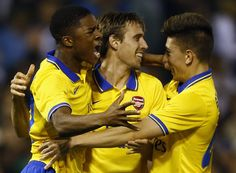 Chuba Akpom, Nacho Monreal and Hector Bellerin celebrates their victory from penalty shoot-out on third round Capital One Cup. West Brom 3-4 Arsenal (September 2013)