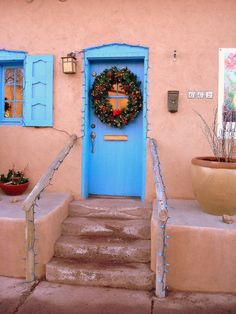 Canyon Road Blue Door at Christmas, Santa Fe, NM.