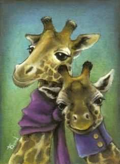 Hipster giraffes wearing gorgeous scarves (handmade of course and surely purchased on etsy) - 7x10 print of a painting by Tanya Bond. $24.00, via Etsy. @Suzie Eads