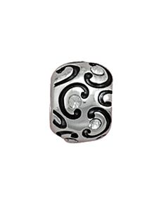 Oxidized sterling silver spacer bead with black enamel C patter and clear crystal accents.      New, in keepsake pouch!     Crafted in .925 sterling silver. Hallmarked .925.     Highest Quality, fits most Pandora Brand Chains & Bracelets.