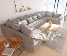 DELIFE Wohnlandschaft Clovis XL Hellgrau Strukturstoff Modulsofa Armlehne, Design Wohnlandschaften, Couch Loft, Modulsofa, modular 10705-10192-0