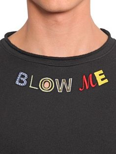 HOUSE OF HOLLAND - BLOW ME EMBROIDERED COTTON SWEATSHIRT - LUISAVIAROMA - LUXURY SHOPPING WORLDWIDE SHIPPING - FLORENCE
