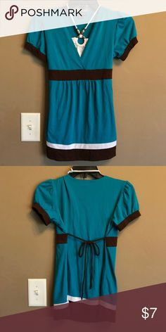 Beautiful neck tie blouse Beautiful Teal & brown neck tie blouse My Michelle Shirts & Tops Blouses