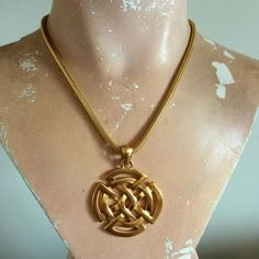 Anne Klein Celtic Pendant Necklace ? 80?s Style Satin Gold-Tone Finish ? Snake Chain ? Signed Anne Klein with Lion?s Head Tag