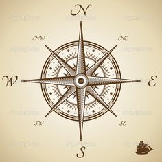 Illustration of Vector compass. Old style. vector art, clipart and stock vectors. Vintage Compass Tattoo, Compass Tattoo Design, Wallpapers Vintage, Compass Vector, Elbow Tattoos, Arm Tattoo, Mariners Compass, Oldschool, Compass Rose