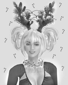 grayscale woman reindeer ears coloring page grayscale portrait adult coloring page digital download