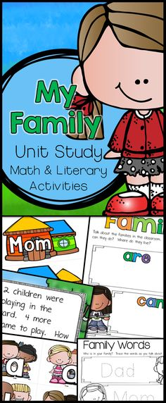 """My Family Learning Unit is a PreK and Kindergarten EARLY beginners step into Project Based Learning (PBL). This """"research"""" unit includes math and literacy activities/centers. $"""