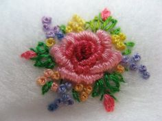 This is my work. By Eve Adamson . Brazilian Embroidery Stitches, Silk Ribbon Embroidery, Embroidery Hoop Art, Machine Embroidery Designs, Diy Bow, Diy Ribbon, Embroidery On Clothes, Needlework, Creations