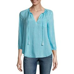 a.n.a 3/4 Sleeve Peasant Blouse - JCPenney