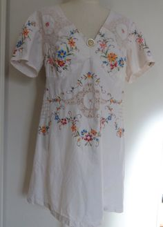 Vintage embroidered table cloth top