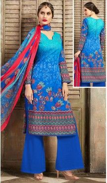 Blue Color Cotton Straight Cut Style Geometric Print Kameez with Palazzo | FH514278259 #casual, #salwar, #kameez, #online, #trendy, #shopping, #latest, #collections, #summer,#shalwar, #hot, #season, #suits, #cheap, #indian, #womens, #dress, #design, #fashion, #boutique, #heenastyle, #clothing, #cotton, #printed, #materials, @heenastyle