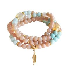 Sunstone Mala Necklace  Sunstone Amazonite Moonstone by BBTresors
