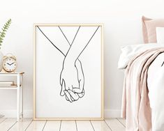 Lovers Hands, One Line Drawing Hands, Lover's Hands Black White Hands Artwork, Hand Drawing, Minimal Coastal Wall Art, Home Decor Wall Art, Drawing Hands, Line Drawing, Lovers Hands, Bedroom Art, White Bedroom, Printable Wall Art, Wall Art Sets