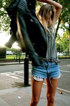 cutoffs + leather jacket