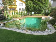 Natural Swimming Ponds, Swimming Pools, Piscine Diy, Pond Tubs, Garden Stairs, Outdoor Living, Outdoor Decor, Water Features, House Colors