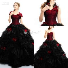 Red and Black Ball Bridesmaid Dresses