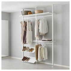 IKEA - ELVARLI, 2 section shelving unit, You can always adapt or complete this open storage solution as needed. Maybe the combination we've suggested is perfect for you, or you can easily create your own.Adjustable shelves and clothes rails make it easy for you to customize the space according to your needs.You choose if you want to place the open storage solution against a wall or use it as a room divider since the post attaches to the ceiling.