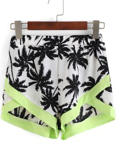 Multicolor Coconut Tree Print Shorts 13.67