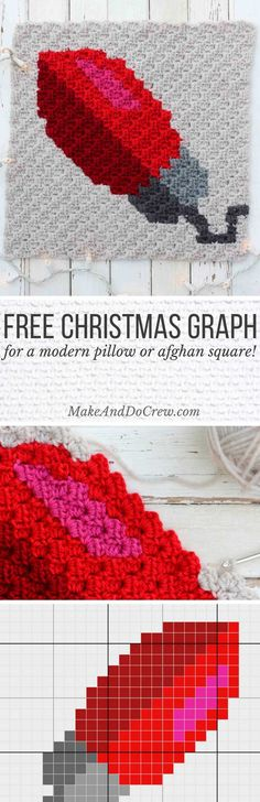 This C2C Christmas light bulb graph is the fourth of nine free crochet patterns…