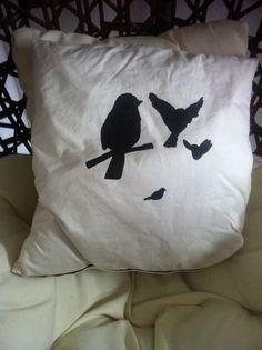 coussin écru autre face pochoir oiseaux # lilisapimce