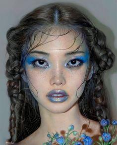 Makeup ideas asian make up 53 ideas Makeup Inspo, Makeup Inspiration, Beauty Makeup, Eye Makeup, Hair Makeup, Hair Beauty, Makeup Ideas, Face Makeup Art, Blue Eyeshadow Makeup