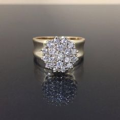 Estate 14k Yellow gold Natural VS-1 Diamond Cocktail Cluster fancy ring 1.00ctw by crystalanchor on Etsy