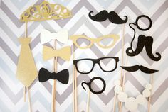 ♥ Celebrate in style with this set of fun 12 photo props! Perfect for any wedding, party or event, these props help complete any photo booth. ♥ I N C L U D E S ♥ • (3) Bow Ties • (1) Neck Tie • (2) Glasses • (1) Monocle • (1) Pearl Necklace • (2) Moustaches • (1) Moustache & Monocle • (1) Tiara WE CAN CUSTOMIZE THE COLORS TO MATCH YOUR THEME! ♥ If bought as is the colors will be black, gold and white as photoed. ♥ All items are made to order from sturdy cardstock - NOT FOAM, which damages...