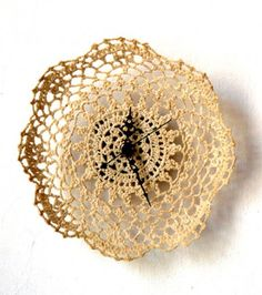 CROCHETED CLOCK BY STANLEY RUIZ - Siesta stiffened crocheted doily by Stanley Ruiz . This is really nice.  I even was thinking of making it myself - taking old lace, stiffening it with starch…