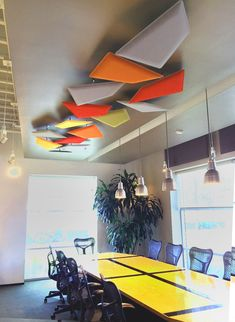 Hanging Acoustic Art Panels sculpt space while absorbing sound. Suspended in space by steel wires the acoustic panels correct noise to NRC Corporate Office Design, Design Studio Office, Office Interior Design, Office Interiors, Ceiling Art, Office Ceiling, Ceiling Design, Kids Church Decor, Ceiling Installation