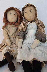 Big, Bold, Wonderful Sisters Dolls 19th C. Cloth & Wood antique