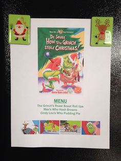 How the Grinch Stole Christmas Movie Night Menu