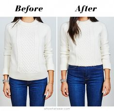 The knit sweater before the hack, and after // Short Girl Sweater Hack