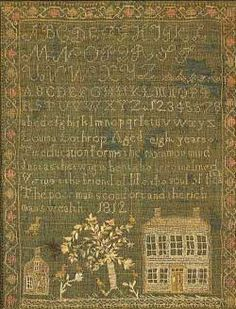 1812 Sampler by Louise Lothrop, Mass. #sampler.  My mom was Louise Lathrop prior to marrying my Dad!