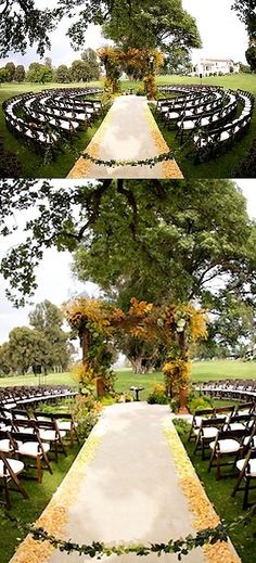 Circular wedding ceremony seating. Great idea, ask your venue if they can arrange this for your special day.