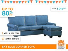 The Sky corner sofa is the perfect place for everyone to gather while adding a modern elegance to Your living space. The sofa features a very cozy stitched edge design that really gives You that kind feeling of Home without compromising a bit of style. Covered in a blue polyester linen fabric, this piece has everything You are looking for in a living room, den or game area.  More details: http://gtfshop.com/sky-blue-corner-sofa