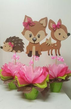 Ideas For Baby Shower Ideas Decoracion Monkey Woodland Animals Theme, Woodland Baby, Fox Party, Baby Party, Baby Girl Shower Themes, Baby Boy Shower, Baby Shower Centerpieces, 1st Birthday Girls, Diy And Crafts