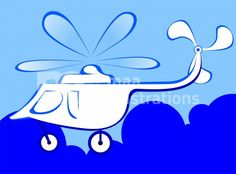 Illustration Of A White Helicopter In Blue Background