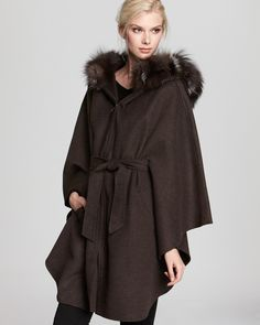 Dawn Levy Layla Zip Up Cape with Fur Hood - Contemporary