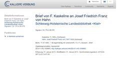 Kaskeline Brief an Josef_Friedrich_Franz_von_Hahn