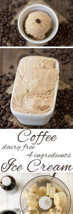 This Dairy Free Coffee Ice Cream uses only four ingredients. I'm not going t… This dairy-free coffee ice cream uses only four ingredients. I'm not going to say that it's healthy, but … it's definitely a healthier ice cream choice. Vegan Sweets, Vegan Desserts, Delicious Desserts, Dessert Recipes, Dinner Recipes, Lactose Free Desserts, Chocolate Desserts, Vegan Food, Dairy Free Ice Cream