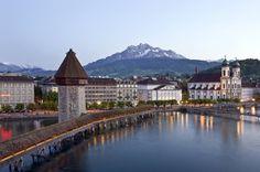 Lucerne's 14th-century Kapellbrücke. Central Switzerland  Lucerne